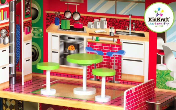 Lovely Kidkraft Majestic Mansion Dollhouse 65252 Made Of Wood In Red Theme For Kids Play Room Furniture Ideas