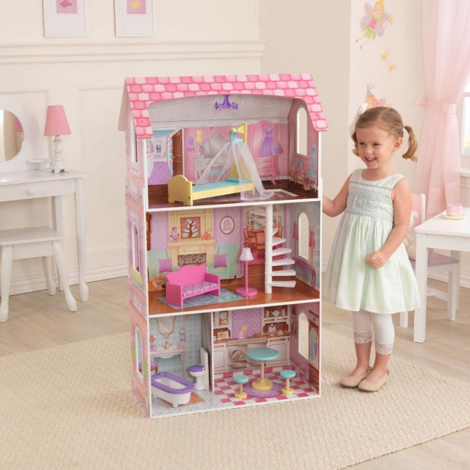 Lovely Kidkraft Majestic Mansion Dollhouse 65252 Made Of Wood On Wooden Floor With Rug For Kids Room Decor Ideas
