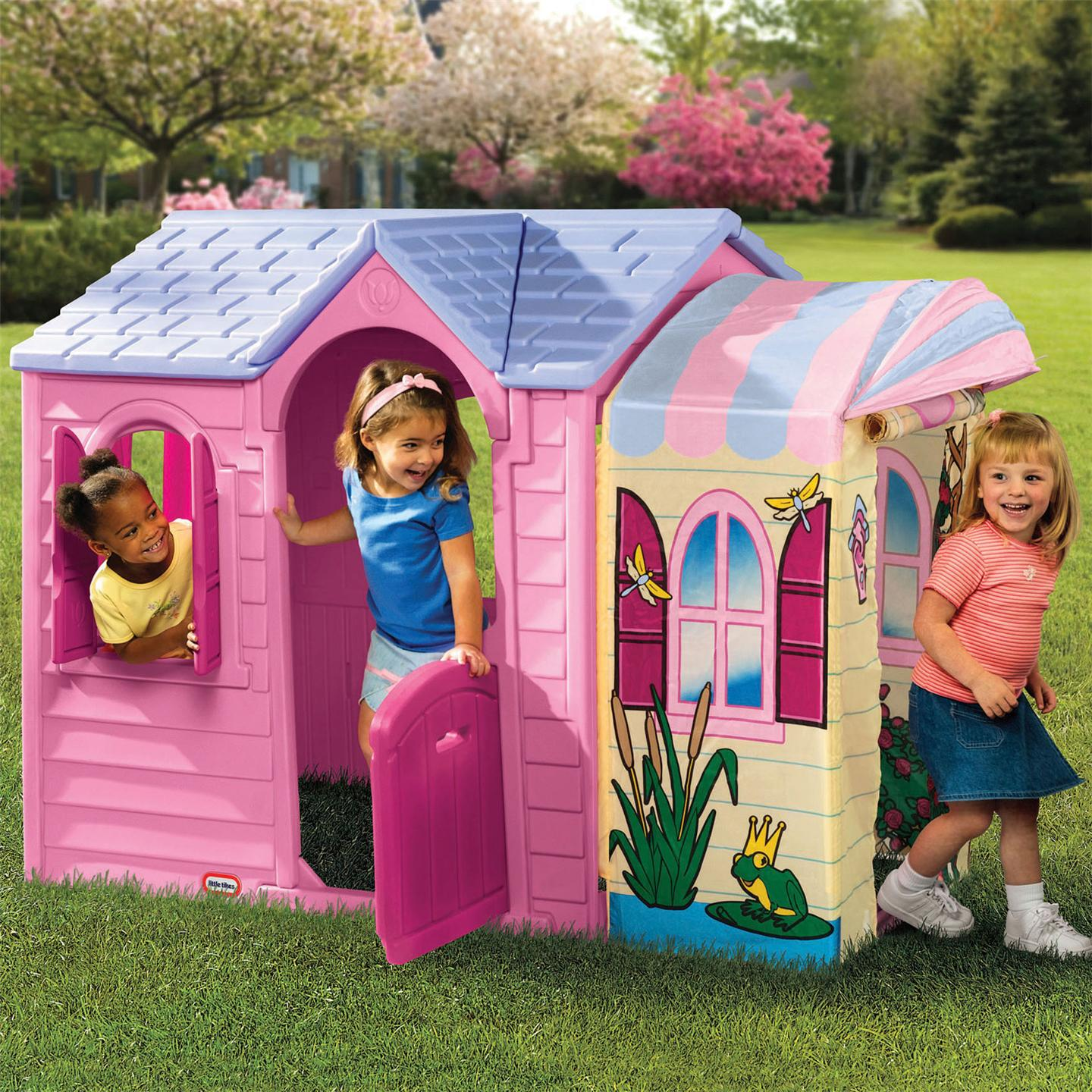 lovely little tikes playhouse with canopy for playground decor ideas