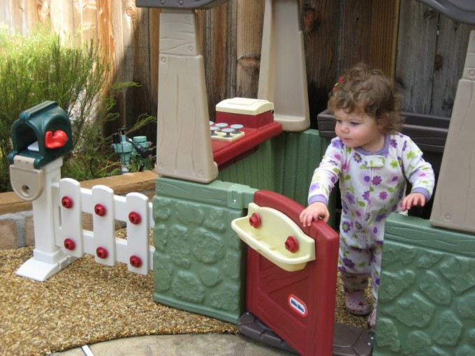 Lovely Little Tikes Playhouse With Green Siding And Red Door For Chic Playground Decor Ideas