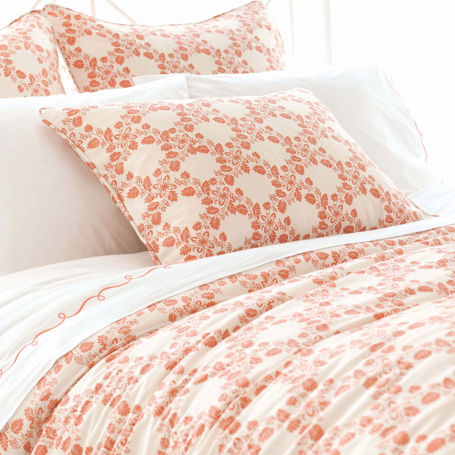 lovely pine cone hill in floral orange themed bedding for bed ideas
