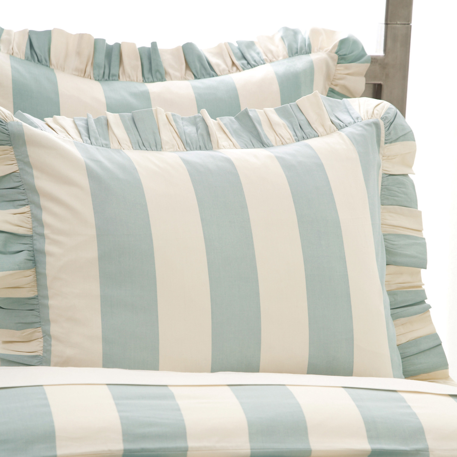 lovely pine cone hill Madeline Stripe Sham in white and blue for bedding ideas