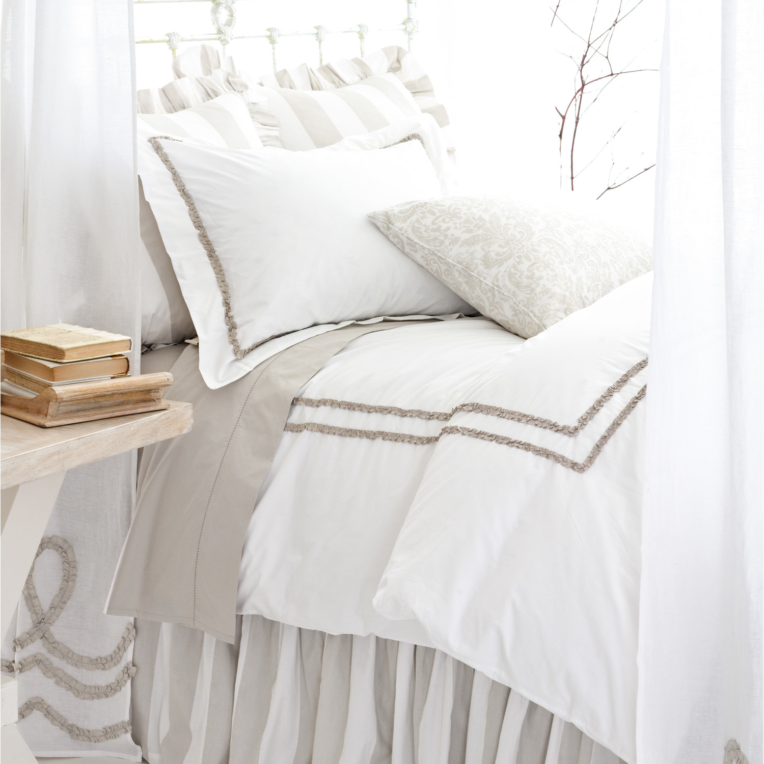 lovely pine cone hill ruched cover in white and gray for bedding ideas