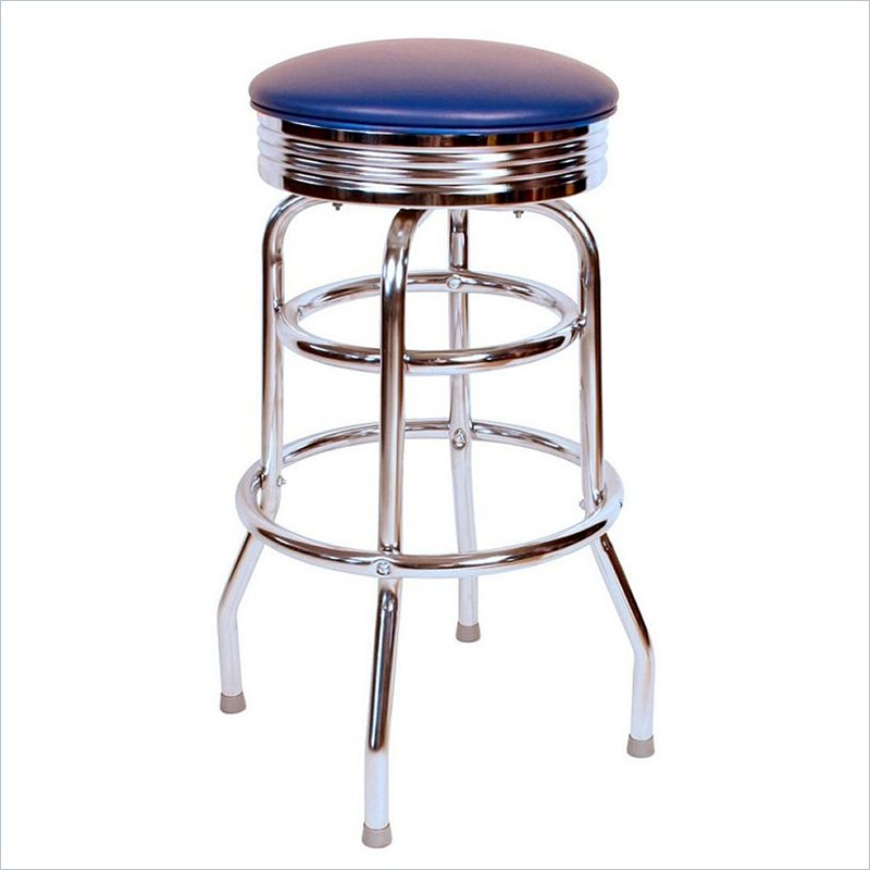 lovely Retro 1950s 30inch Backless Swivel Bar Stool in Blue by cymax bar stools for home furniture ideas