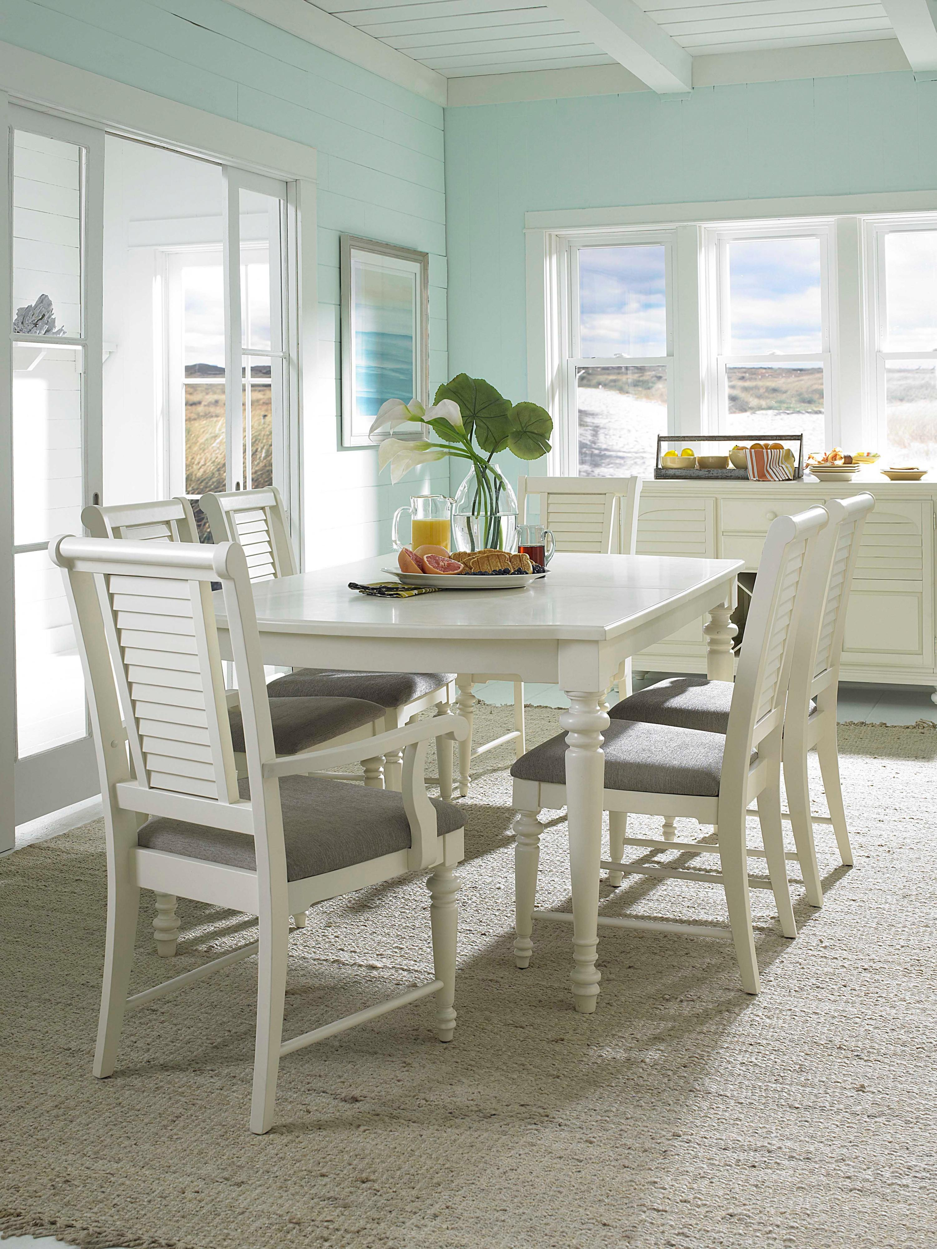 lovely white wooden dining chairs with gray seat and white wooden dining table by broyhill furniture on ivory rug for dining room decor ideas