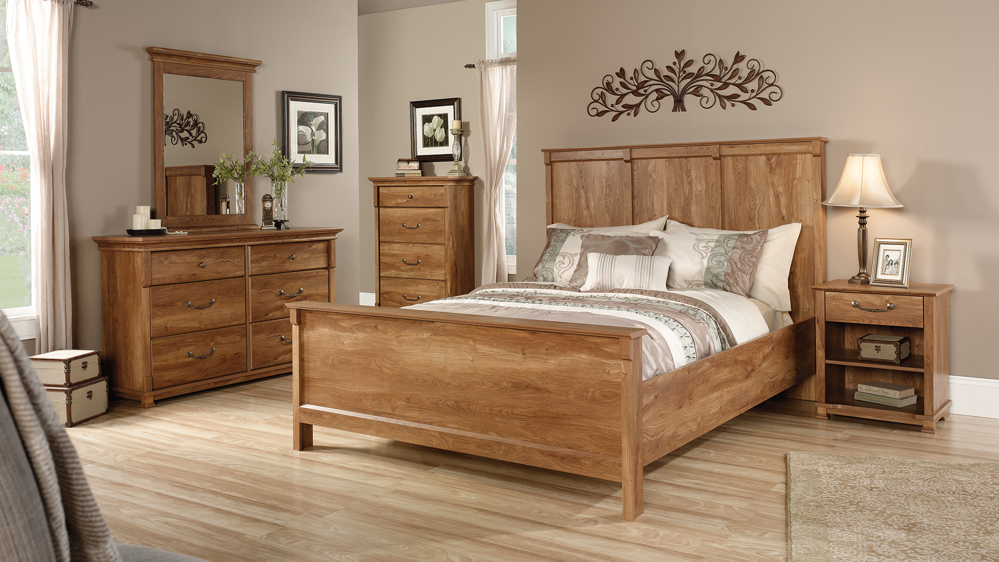 lovely wooden bed and dresser by sauder furniture on wooden floor for bedroom decor ideas