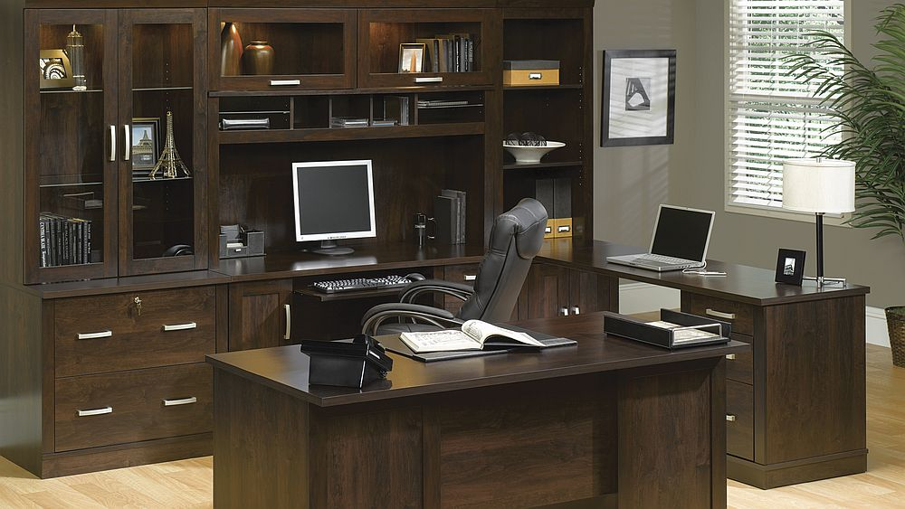 lovely wooden desk and wooden armoire of computer by sauder furniture for home office decor ideas