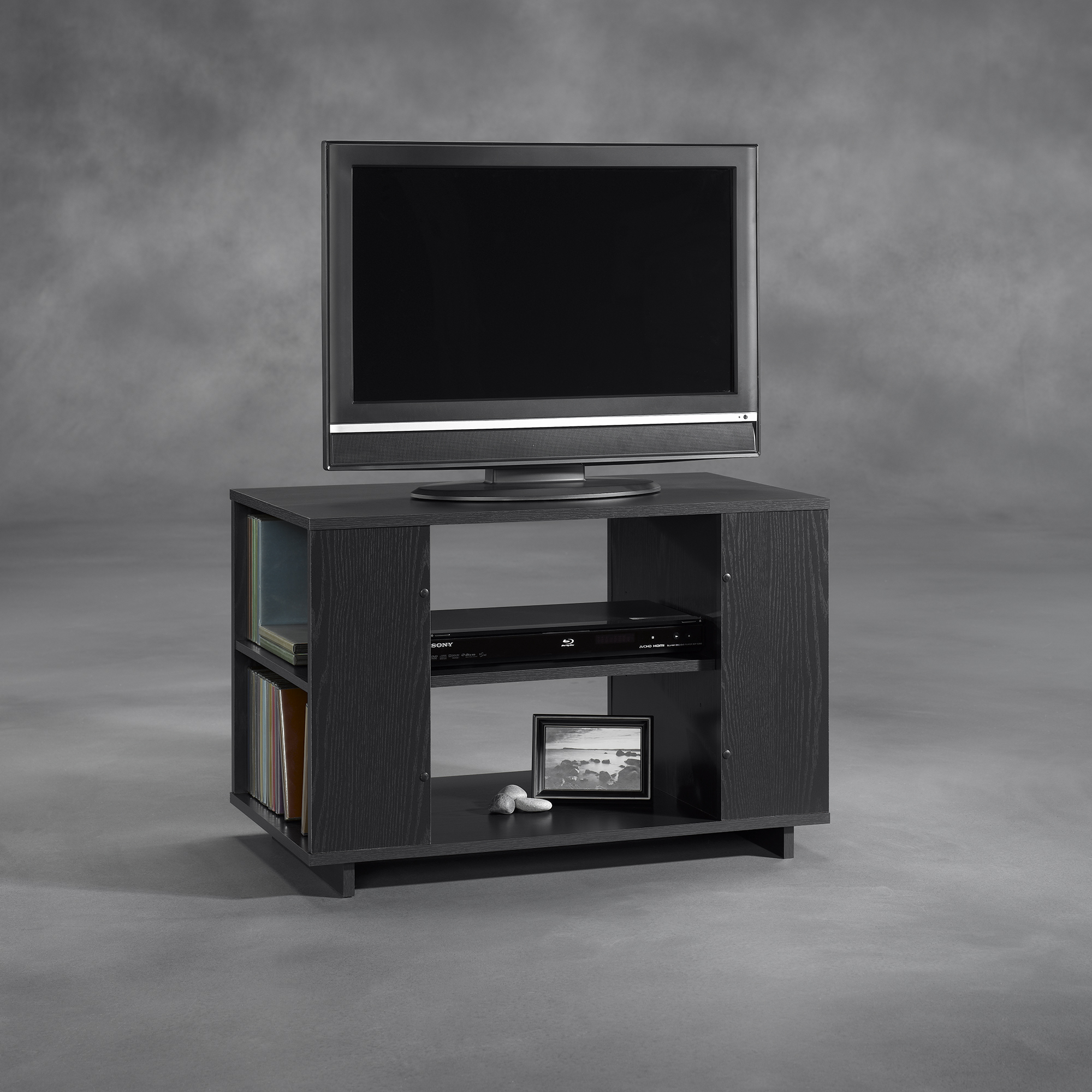 lovely wooden tv stand in gray with rack by sauder furniture for home furniture ideas