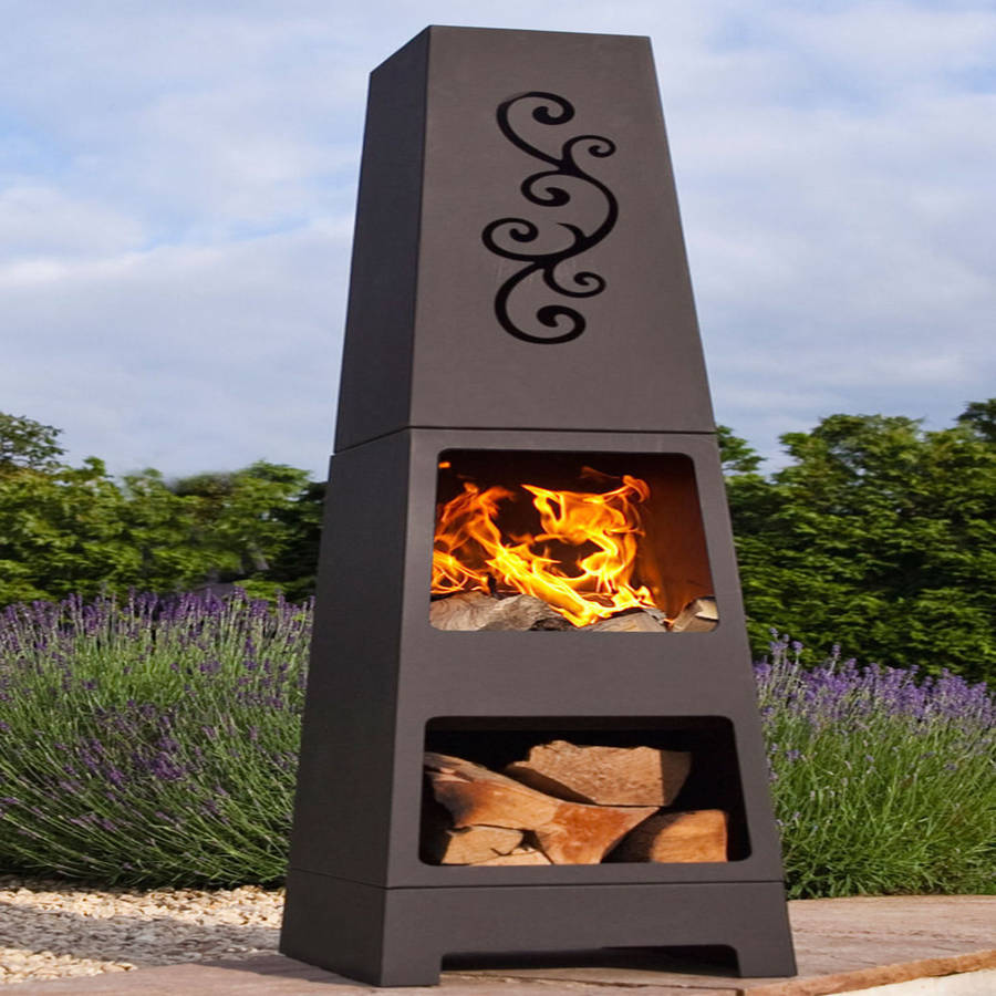 manoa chiminea patio heater and log store by oxford barbecues for patio furniture ideas