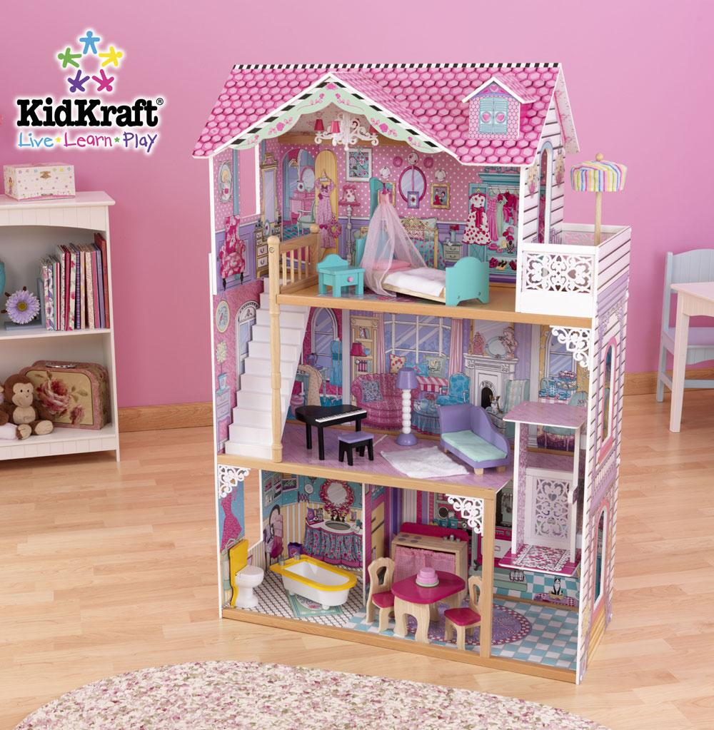 mesmerizing nursery decor with pink wall matched with wooden floor plus kidkraft dollhouse made of wood in triple tier design ideas