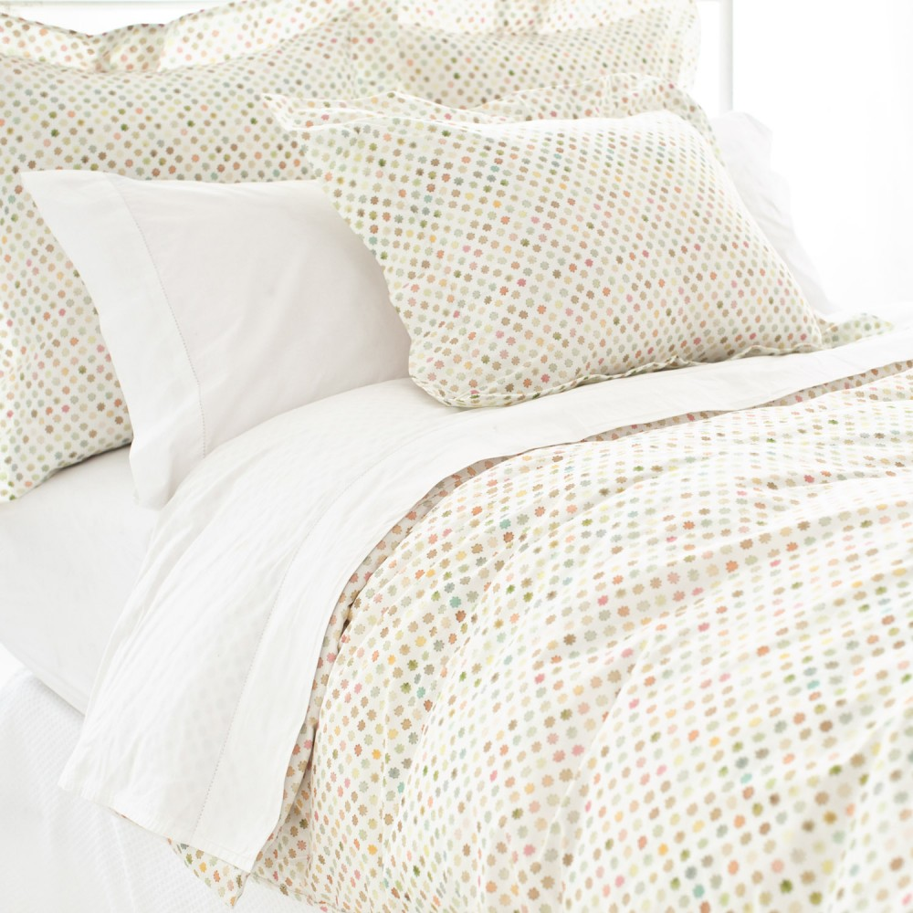 Mesmerizing Pine Cone Hill Bedding In White And Dotted Theme For Charming Bed Ideas