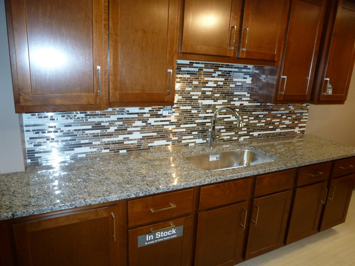 Metal and White Glass Random schluter strip Backsplash Tile Mosaic 15 1/2 with kitchen cabinet for kitchen decor ideas
