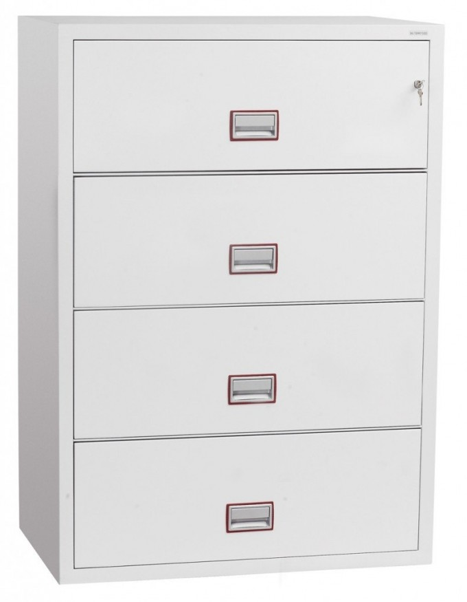 Modern Fireproof File Cabinet In White With Four Drawers Design For Home Office Furniture Ideas