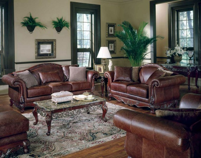 Modern Leather Sofa By Broyhill Furniture On Wooden Floor With Gray Rug For Living Room Decor Ideas