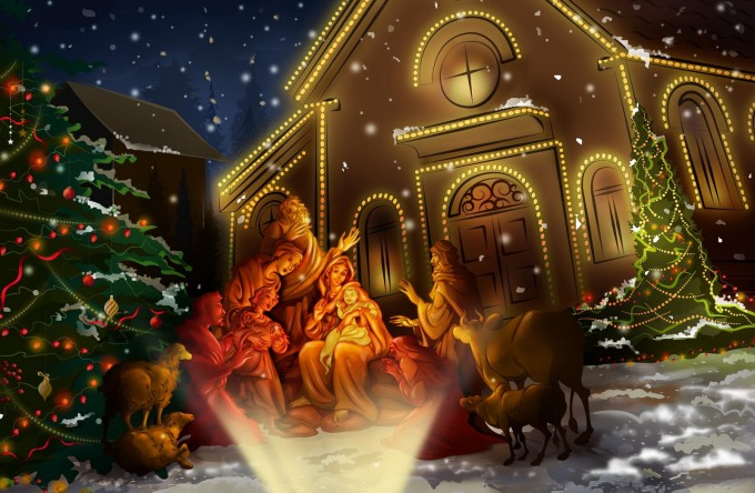 Nativity Sets Scene Wallpaper Christian Wallpapers For Christmas Decoration Ideas
