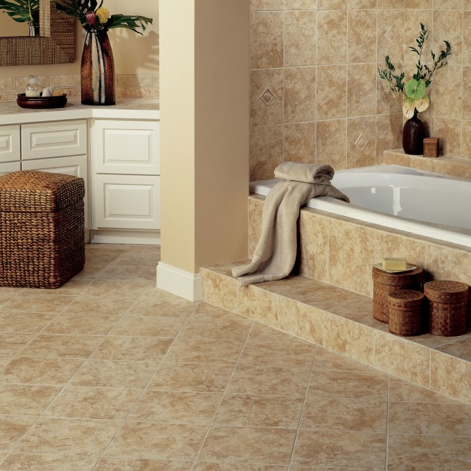 Natural Ristano Ceramic Floor Tile In Noce By Mohawk Flooring Plus White Wooden Bathroom Cabinet Plus Tub For Bathroom Decor Ideas