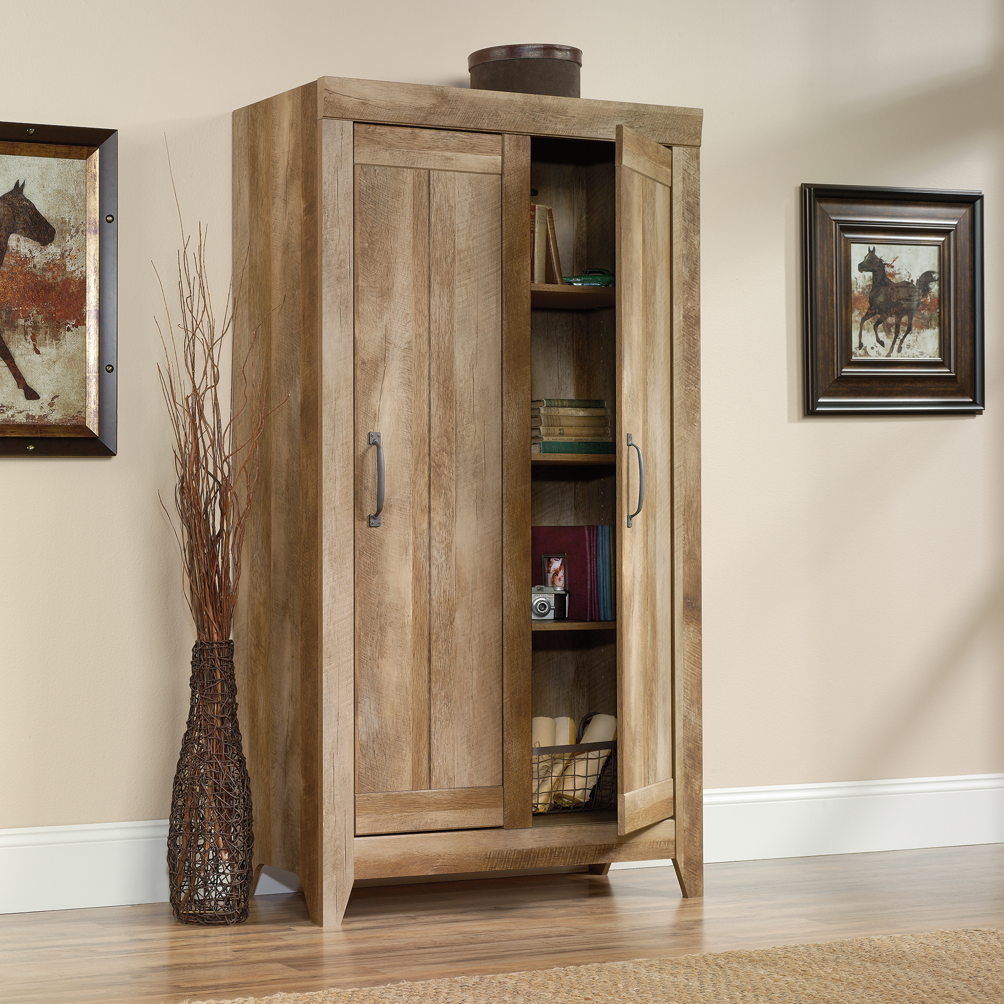 Oak Storage Cabinet by sauder furniture on wooden floor which matched with beige wall for living room decor ideas
