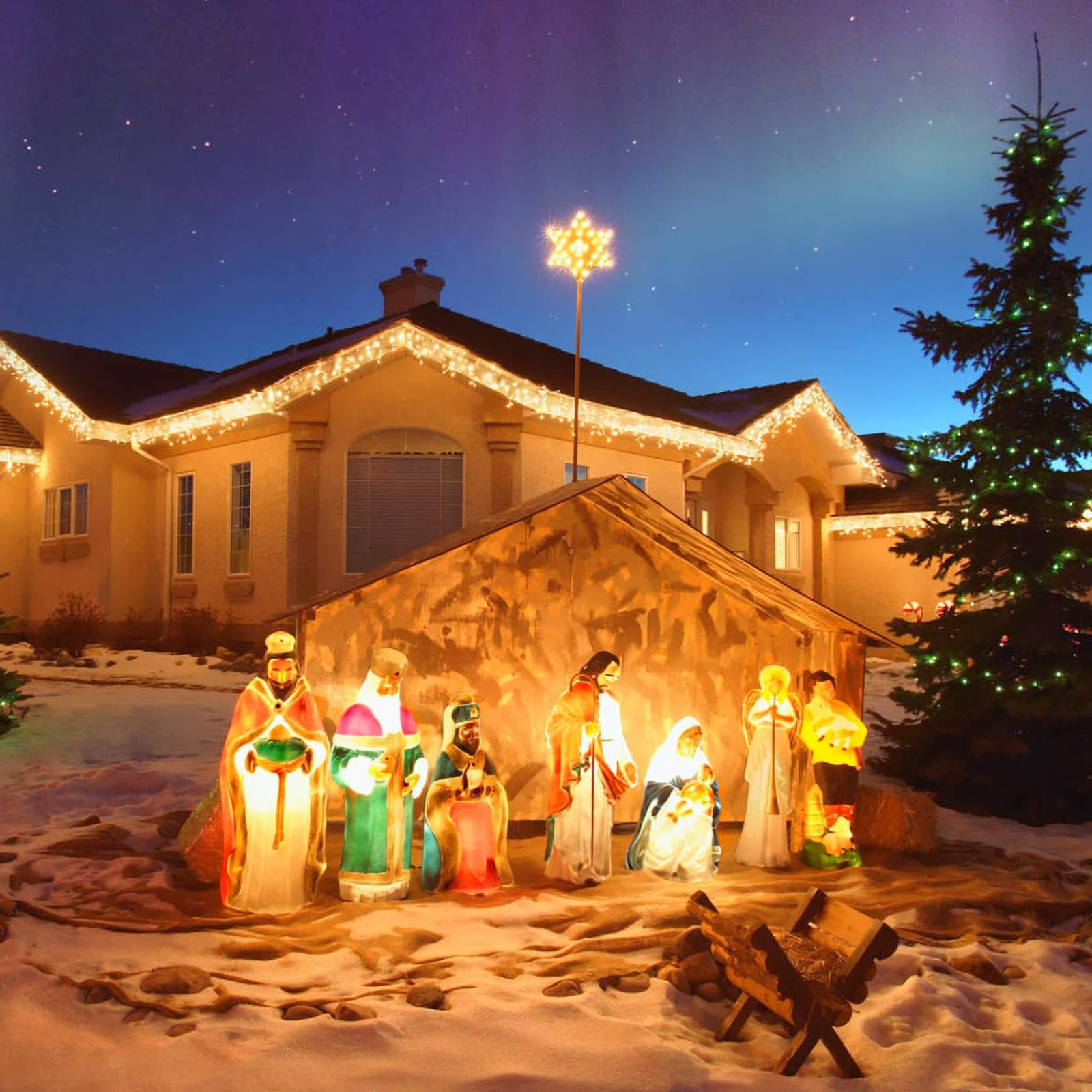 Outdoor Christmas nativity sets scene for christmas decoration ideas