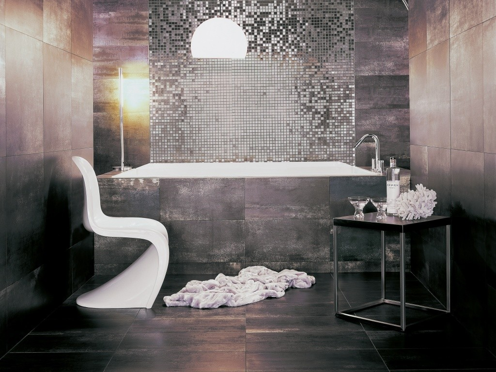 Oxide Graphite Rectified interceramic tile floor plus elegant bathup and unique white chair for bathroom decor ideas