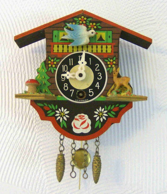 Painted Mini Cuckoo Clock In Colorful Design For Home Accessories Ideas