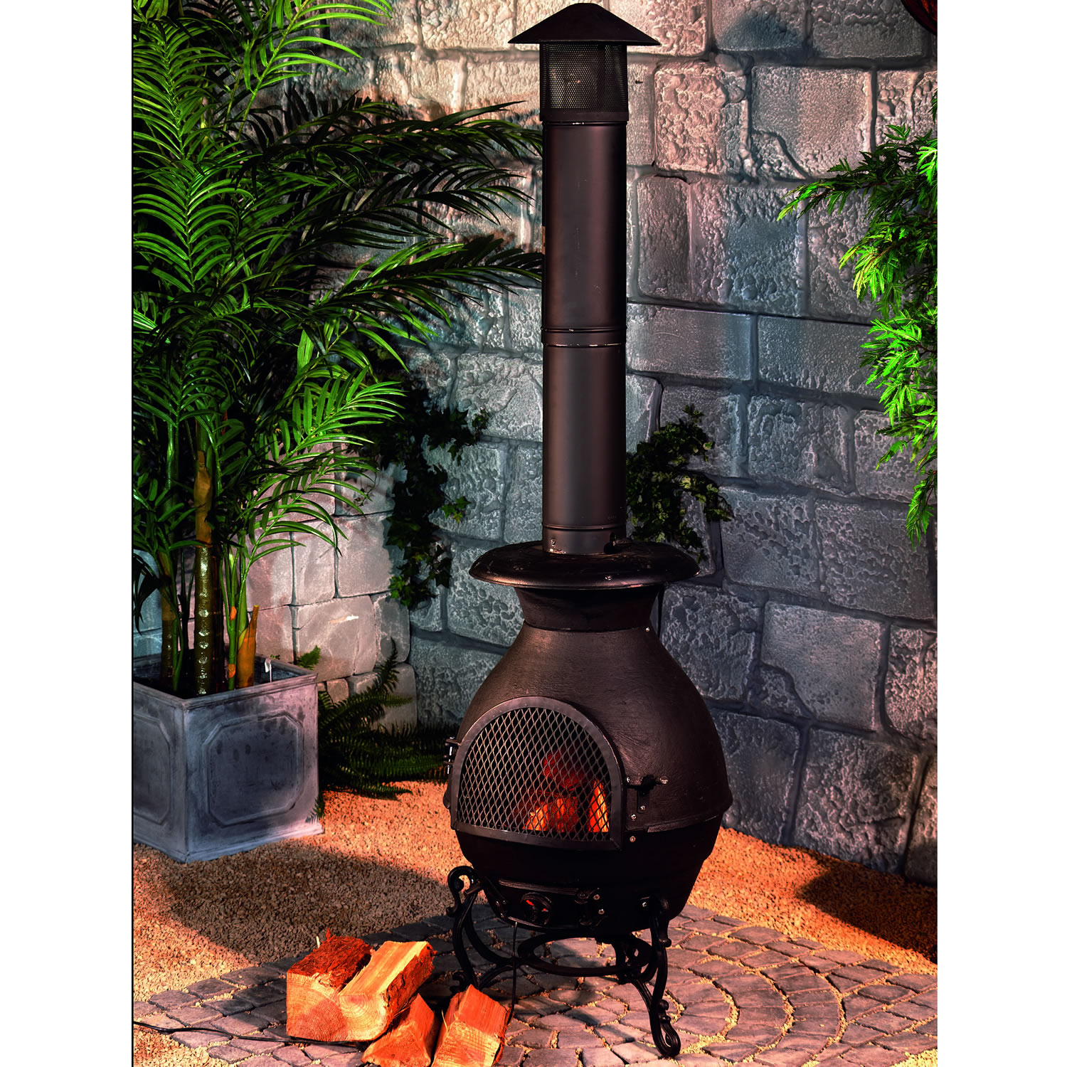 Patio Chiminea Fireplace On Chic Paver For Patio Decor Ideas