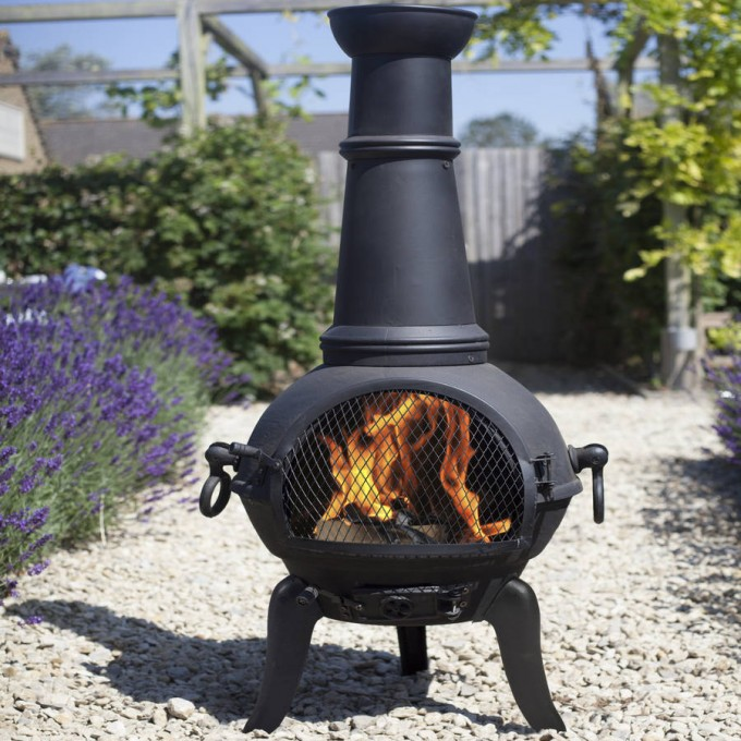 Patio Chiminea In Black And Unique Design For Outdoor Funriture Ideas