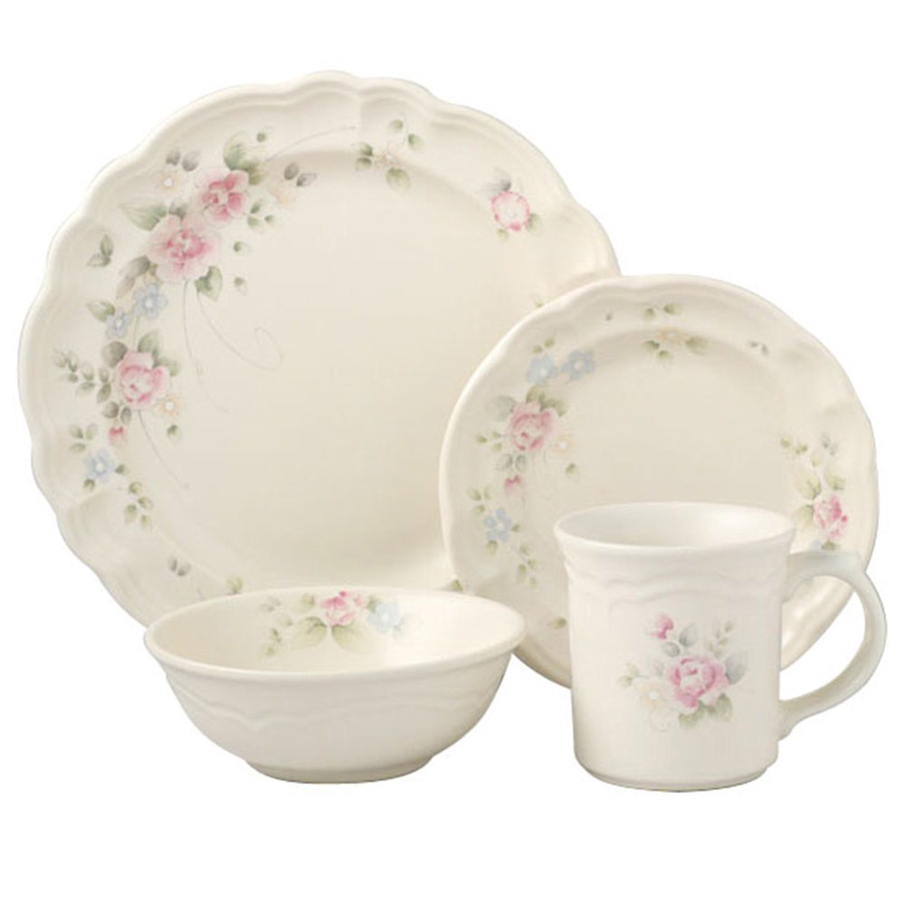 Pfaltzgraff Tea Rose Dinnerware Set in white