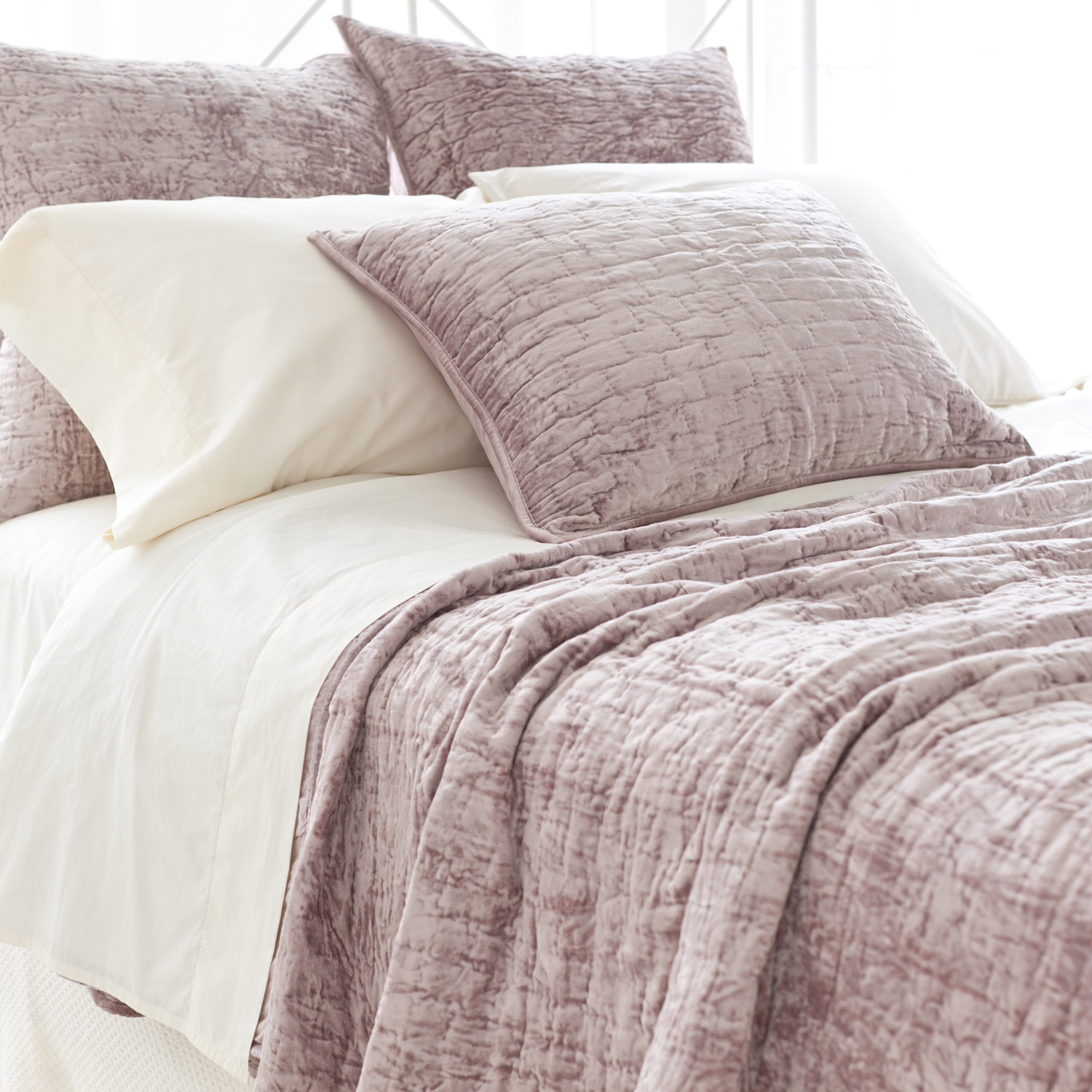 Lovely Pine Cone Hill Bedding For Interesting Bed Ideas: Pine Cone Hill Matte Velvet Dusty Plum Quilt Bedding For Lovely Bed Ideas