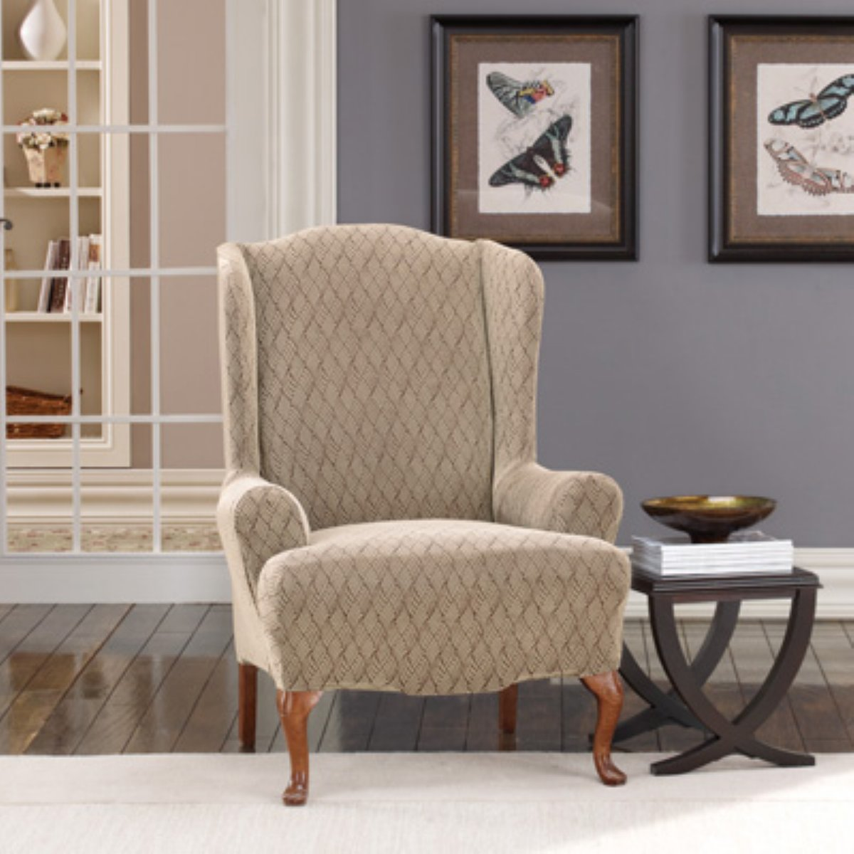 pretty chair with chic surefit cover on wooden floor with white rug for living room decor ideas
