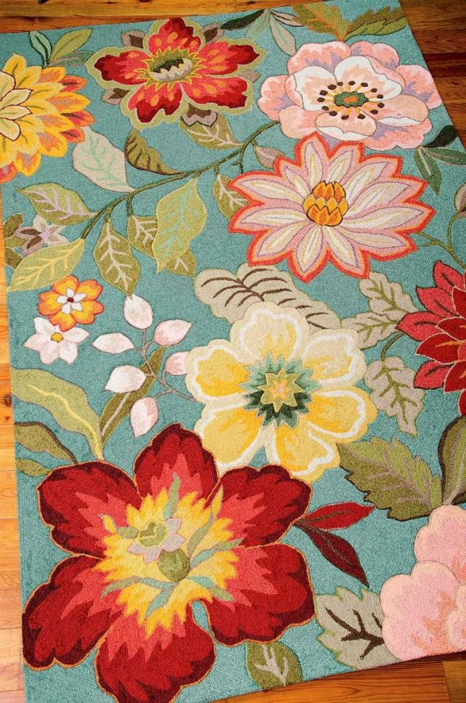 Pretty Colorful Nourison Rugs With Flower Pattern For Floor Decor Ideas