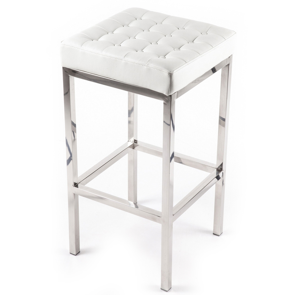 Pretty Cymax Bar Stools With Tufted White Leather Seat And Silver Metal Legs For Home Furniture Ideas