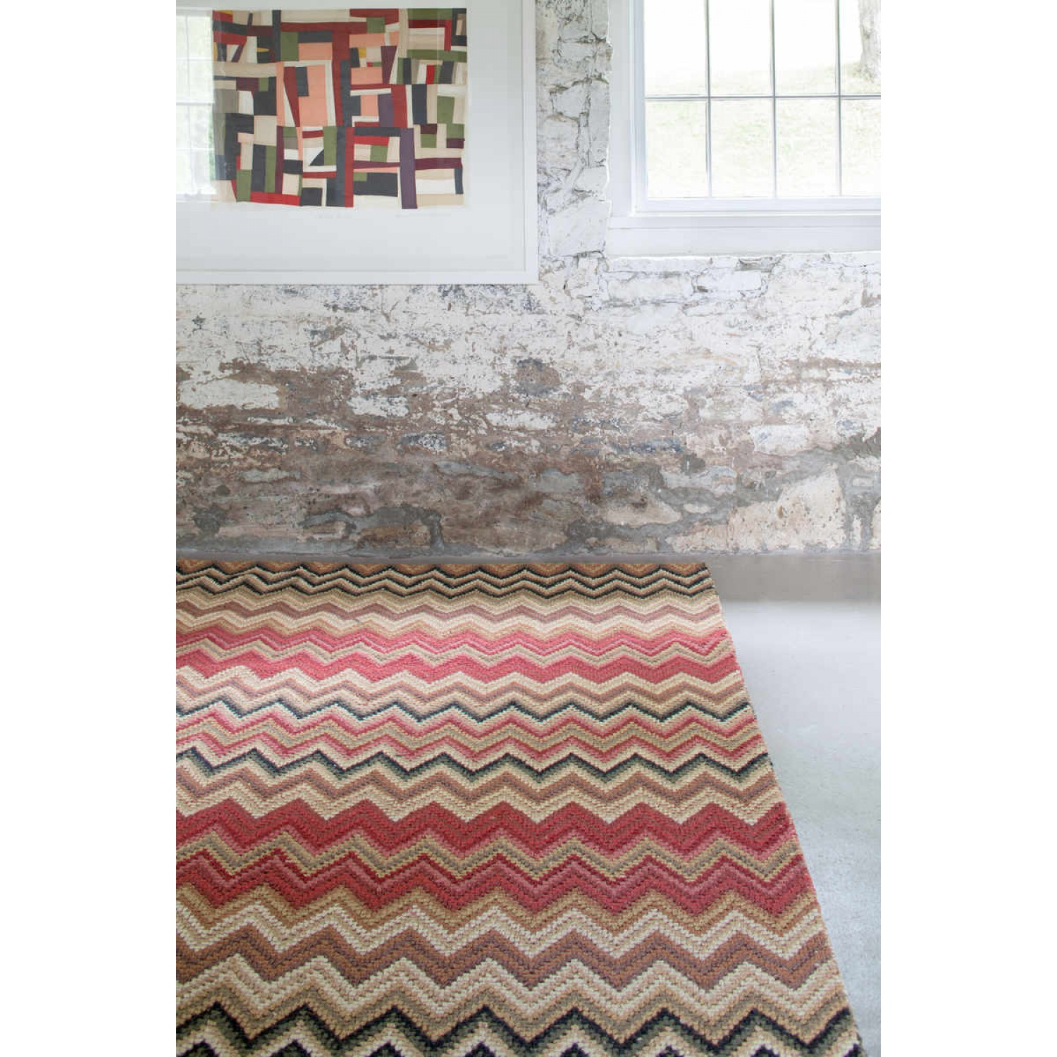pretty Dash And Albert Rugs chevron multi micro hooked on white tile floor for living room decor ideas