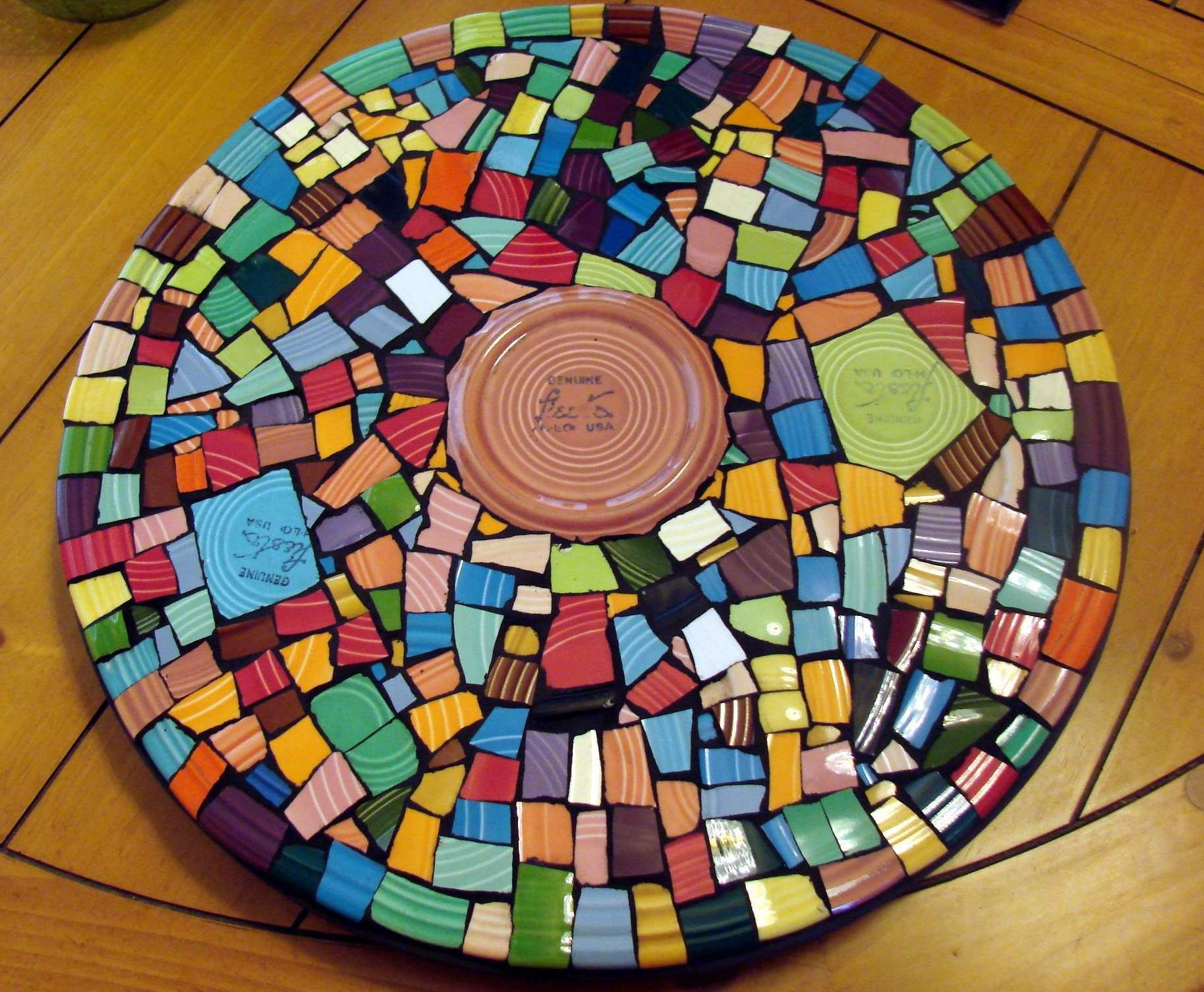 pretty fiestaware Mosaic Art Colorful LAzy Susan Spinner by cocomo
