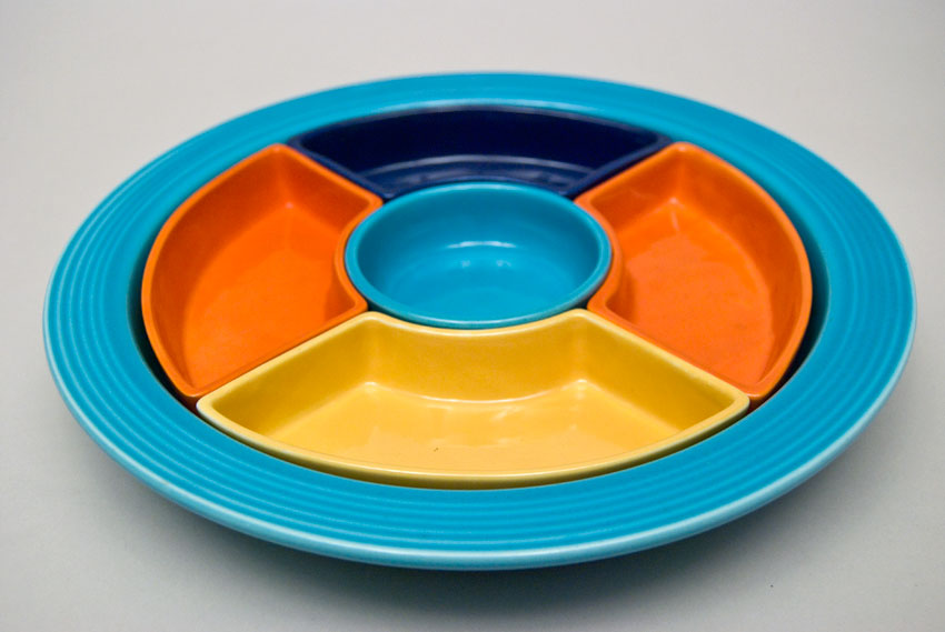 Awesome Collections Of Fiestaware For Dinnerware Ideas: Pretty Fiestaware Relish Tray Lazy Susan Turquoise Red Cobalt Yellow For Serveware Ideas