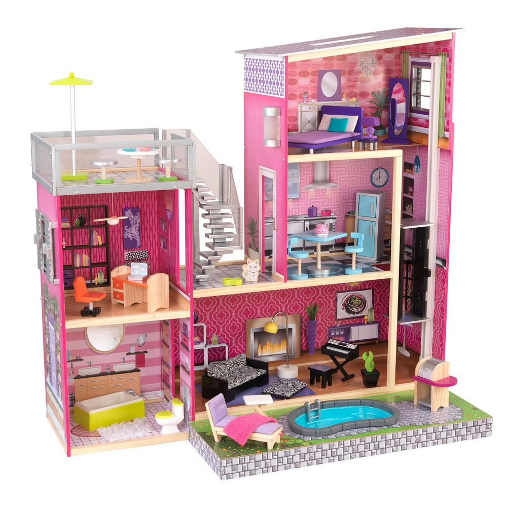 Pretty Kidkraft Majestic Mansion Dollhouse 65252 Made Of Wood In Pink Theme For Kids Play Room Furniture Ideas