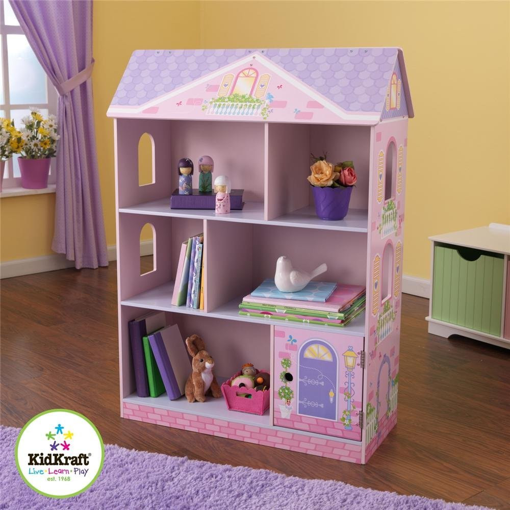 Pretty Kidkraft Majestic Mansion Dollhouse 65252 Made Of Wood N Pink And Purple Theme On Wooden Floor Matched With Yellow Wall For Kids Room Decor Ideas