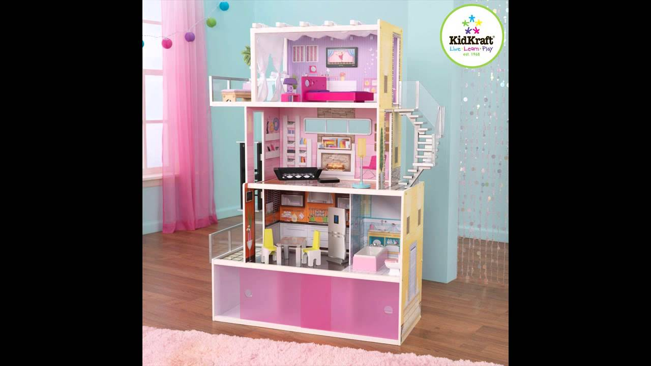 Pretty Kidkraft Majestic Mansion Dollhouse 65252 Made Of Wood On Wooden Floor Matched With Blue Wall With Pink Curtain For Kids Room Decor Ideas