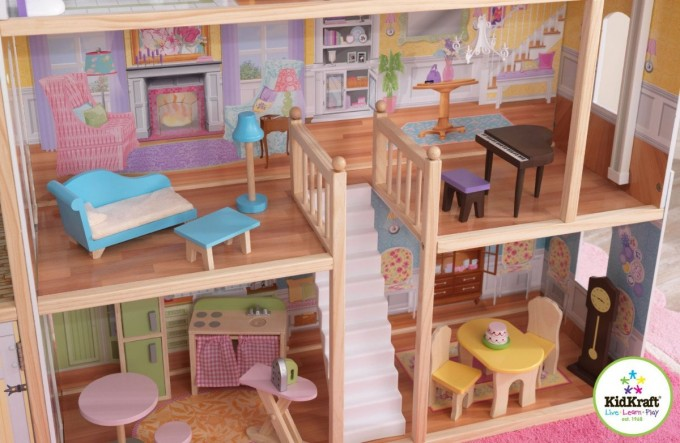 Pretty Kidkraft Majestic Mansion Dollhouse 65252 Made Of Wood With White Staircase For Kids Play Room Furniture Ideas