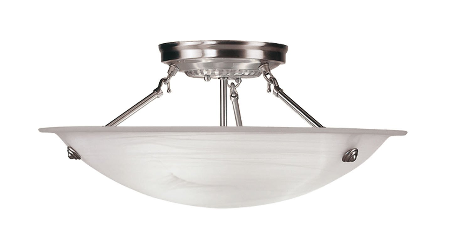 Pretty Livex Lighting 4273 91 North Port 3 Light Brushed Nickel Semi Flush For Home Lighting Ideas