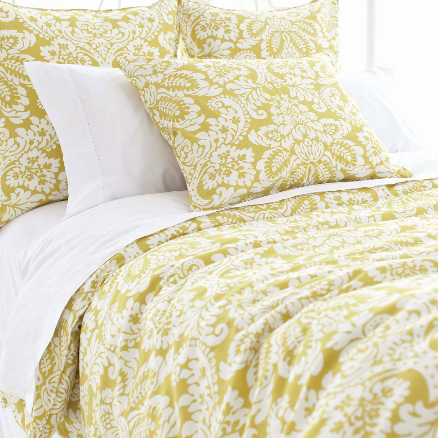 Pretty Pine Cone Hill Bedding In Green White Floral Theme For Lovely Bed Ideas