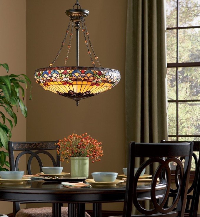 Pretty Quoizel TF1781VB Belle Fleur Vintage Bronze Pendant Above The Wooden Dining Table Set For Dining Room Decor Ideas