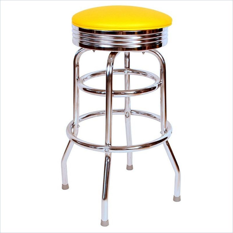 pretty Retro 1950s 30inch Backless Swivel Bar Stool in Yellow by cymax bar stools for home furniture ideas