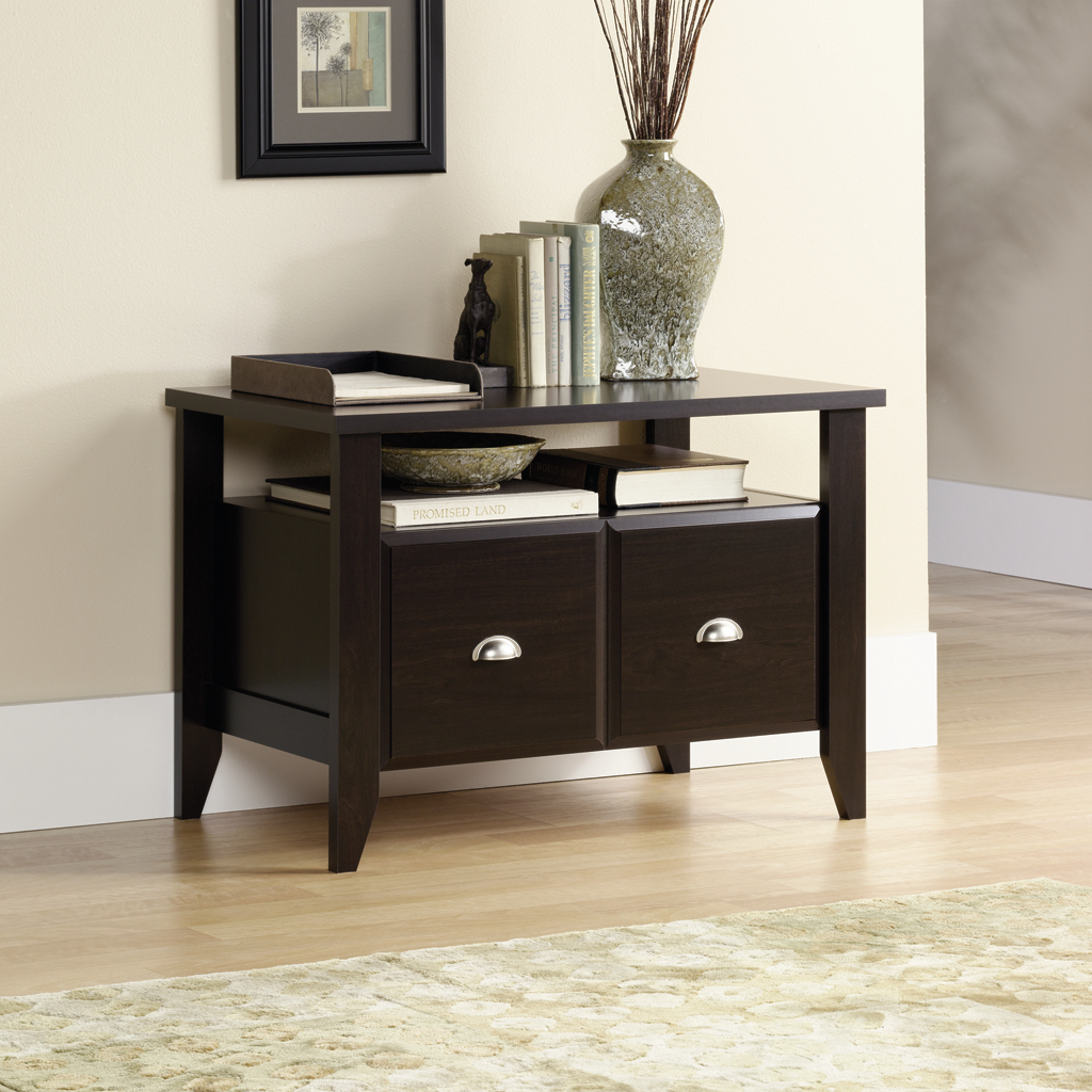 pretty Shoal Creek Jamocha Wood Printer Stand 409944 by sauder furniture on wooden floor which matched with beige wall for home office decor ideas