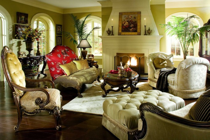 Pretty Sofa Set And Tufted Ottoman By Aico Furniture On Wooden Floor Plus Fireplace For Living Room Decor Ideas