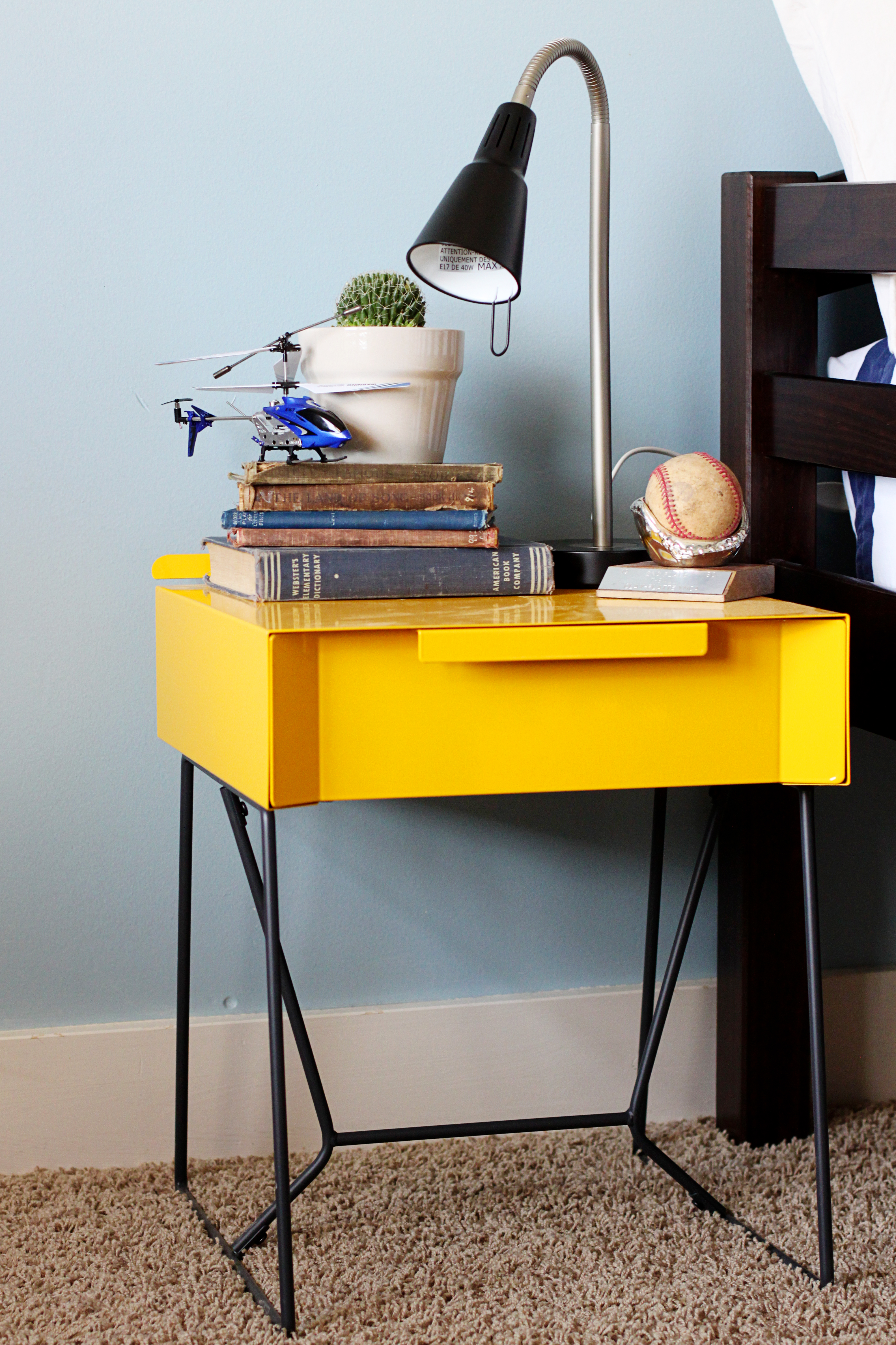 pretty table i yellow with black iron legs by sauder furniture for home furniture ideas