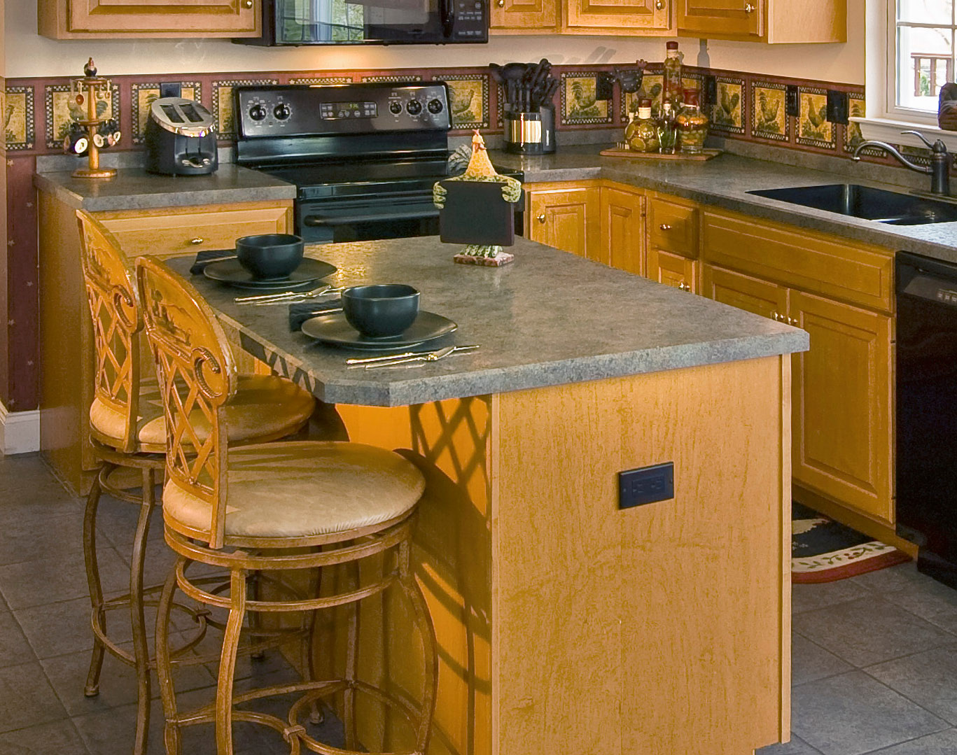 pretty wooden kitchen cabinet with gray wilsonart laminate countertops and sink plus stove for kitchen decor ideas