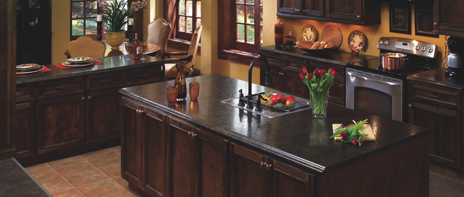 pretty wooden kitchen island with wilsonart laminate countertops and sink plus dark faucet for kitchen decor ideas