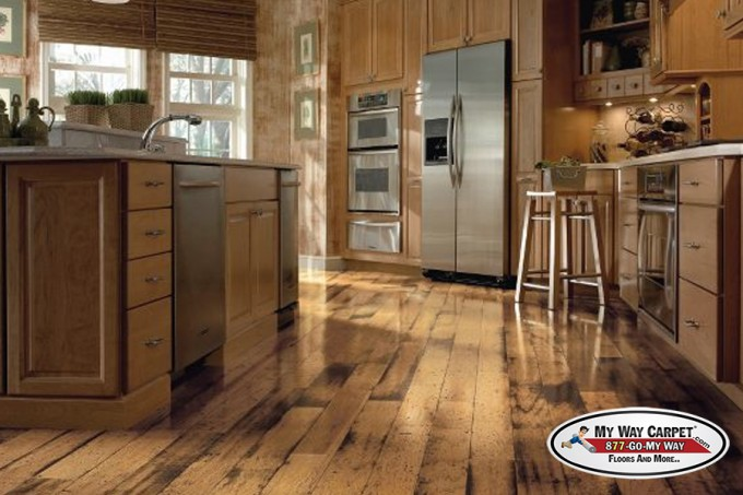 Rustic Kitchen Design With Wooden Kitchen Cabinet And Fridge On Bruce Hardwood Floors Ideas