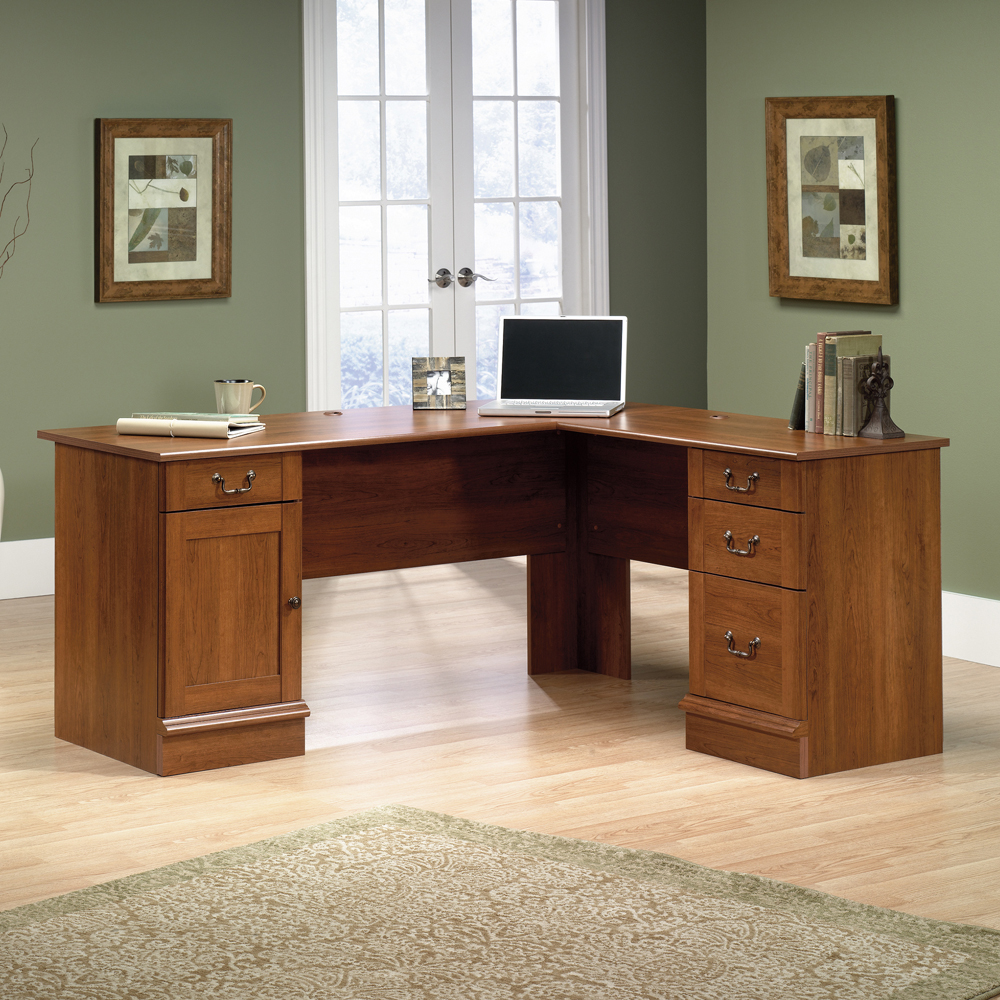 Shaker Cherry L Shaped Desk by sauder furniture on wooden floor which matched with olive wall for home office decor ideas