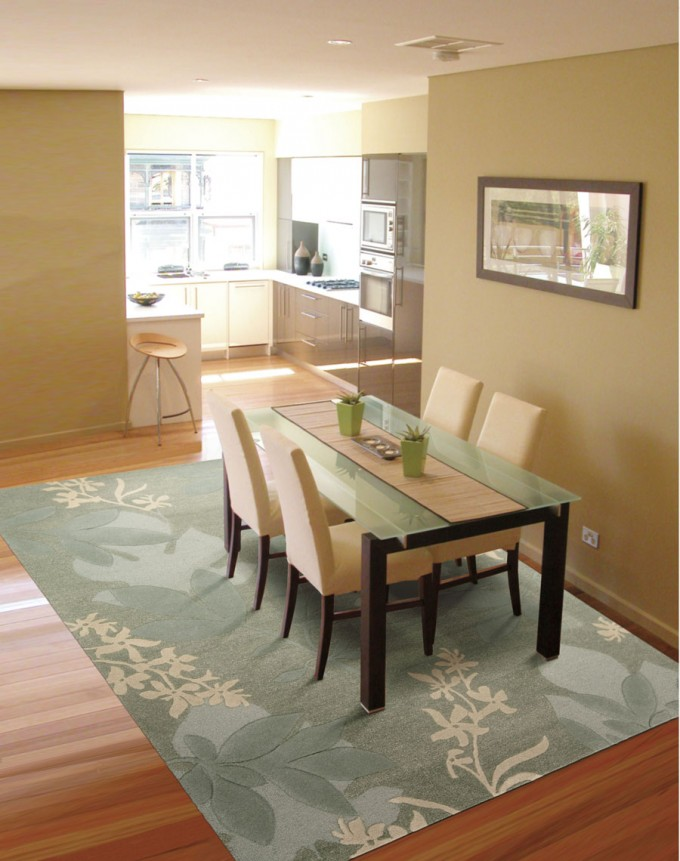 Skyland SKY01 Green Rug By Nourison Rugs On Wooden Floor Plus Dining Table Set For Dining Room Decor Ideas
